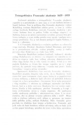 Tristagodišnjica Francuske akademije : 1635-1935 / V. Varićak
