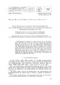 <Die> Menschlichen Skelettreste aus der Hoehle Veternica in Medvednica (Nordwestkroatien) / M. Malez, M. Teschler-Nicola