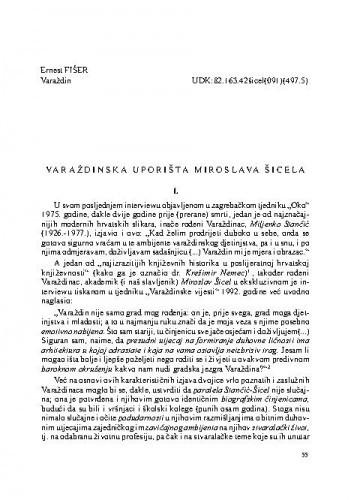Varaždinska uporišta Miroslava Šicela / Ernest Fišer