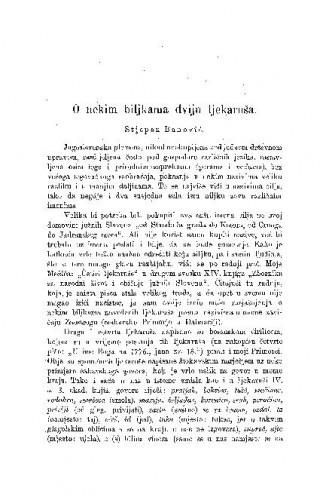 O nekim biljkama dviju ljekaruša / S. Banović