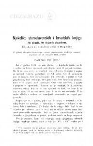 Njekoliko staroslavenskih i hrvatskih knjiga što pisanih, što tiskanih glagolicom, kojim se u skorašnje doba u trag ušlo / I. Brčić