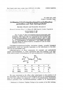 2,4-Diamino-5-(3,4,5-trimethoxybenzyl)-6-arylsulfonyloxypyrimidines and their hydrogenolysis / K. Kovačević, B. Glunčić