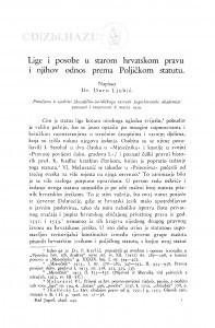 Lige i posobe u starom hrvatskom pravu i njihov odnos prema Poljičkom statutu / Đ. Ljubić