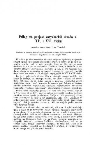 Prilog za povjest zagrebačkih sinoda u XV. i XVI. vieku / Ivan Tkalčić