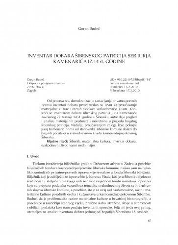 Inventar dobara šibenskog patricija ser Jurja Kamenarića iz 1451. godine / Goran Budeč