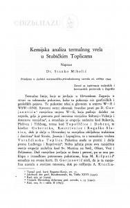 Kemijska analiza termalnog vrela u Stubičkim toplicama / Stanko Miholić