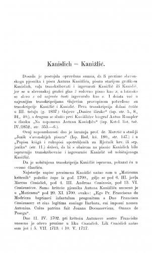 Kanislichb = Kanižlić / F. Fancev