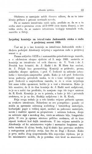 Izvještaj komisije za istraživanje Jadranskih otoka o radu u proljetnoj sezoni 1925 / V. Vouk