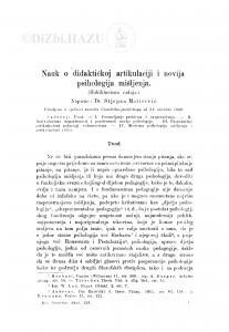 Nauk o didaktičkoj artikulaciji i novija psihologija mišljenja : (Habilitaciona radnja) / S. Matičević