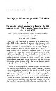Putovanja po Balkanskom poluotoku XVI. vieka : <11.> Dva putopisa poljskih poslanstva u Carigrad: E. Otvinovskoga od god. 1557. i god. 1569 / P. Matković