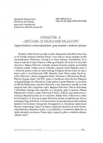 Krnjaš br. 4 – sjećanja iz najranije mladosti : Stjepan Đaković u komunikacijskom, generacijskom i osobnom sjećanju / Stjepan Jecić