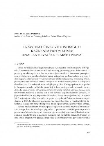 Pravo na učinkovitu istragu u kaznenim predmetima: analiza hrvatske prakse i prava : [izlaganje] / Zlata Đurđević