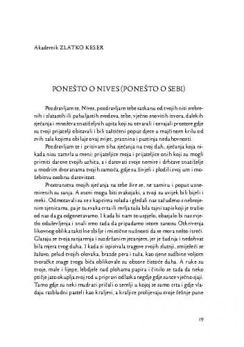 Ponešto o Nives (ponešto o sebi) / Zlatko Keser