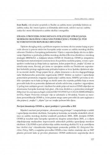 Izrada i provedba dokumenata strategije upravljanja morskim okolišem i obalnim područjem u području pod suverenitetom Republike Hrvatske : [Rasprava] / Ivan Radić