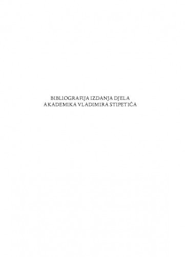 Bibliografija izdanja djela akademika Vladimira Stipetića