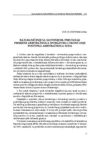 Razgraničenje sa Slovenijom, prestanak primjene arbitražnoga sporazuma i okončanje postupka Arbitražnoga suda / Davorin Rudolf