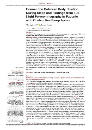 Connection Between Body Position During Sleep and Findings from Full-Night Polysomnography in Patients with Obstructive Sleep Apnea / Alen Juginović, Renata Pecotić