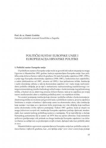Politički sustav Europske unije i europeizacija hrvatske politike : [uvodno izlaganje] / Damir Grubiša