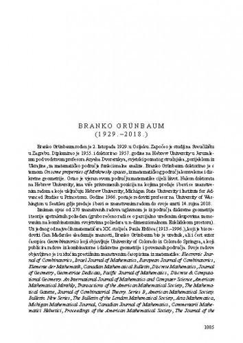 Branko Grünbaum (1929.-2018.) : [nekrolog] / Goran Muić