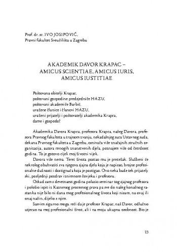 Akademik Davor Krapac - amicus scientiae, amicus iuris, amicus iustitiae / Ivo Josipović