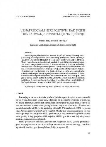 Uznapredovali HER2 pozitivni rak dojke: prevladavanje rezistencije na liječenje / Marija Ban, Eduard Vrdoljak