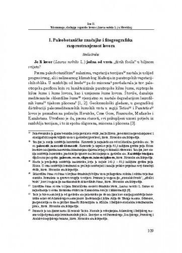 Paleobotaničke značajke i fitogeografska rasprostranjenost lovora / Siniša Srečec