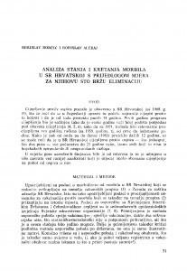 Analiza stanja i kretanja morbila u SR Hrvatskoj s prijedlogom mjera za njihovu što bržu eliminaciju / B. Borčić, B. Aleraj