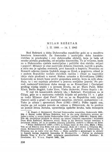 Milan Rešetar : 1.II. 1960. - 14. I. 1942. : [nekrolog] / M. Deanović