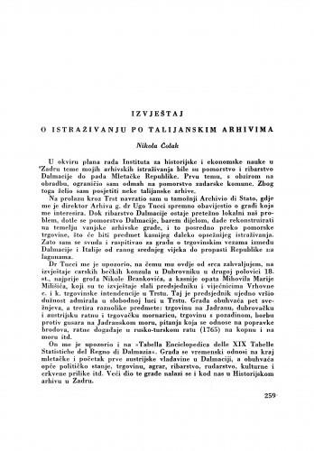 Izvještaj o istraživanju po talijanskim arhivima / N. Čolak