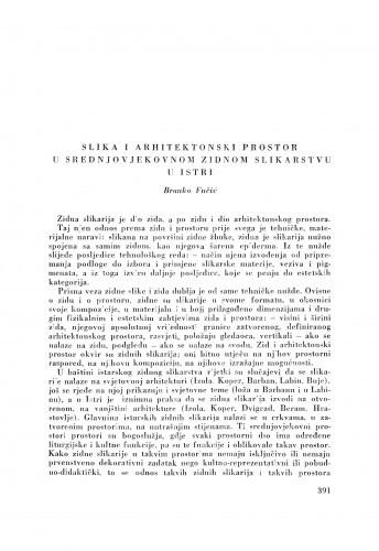 Slika i arhitektonski prostor u srednjovjekovnom zidnom slikarstvu u Istri / B. Fučić