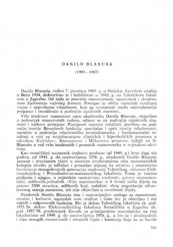 Danilo Blanuša (1903-1987) : [nekrolozi] / Zlatko Janković