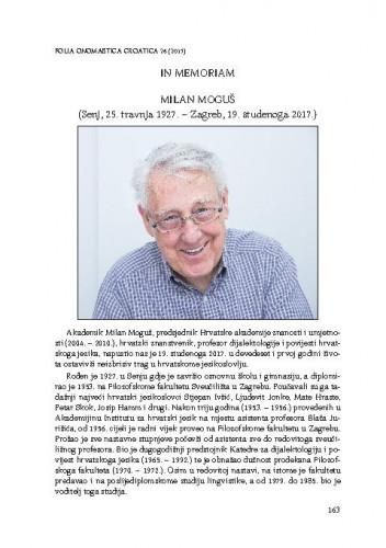 In memoriam : Milan Moguš : (Senj, 25. travnja 1927. – Zagreb, 19. studenoga 2017.)