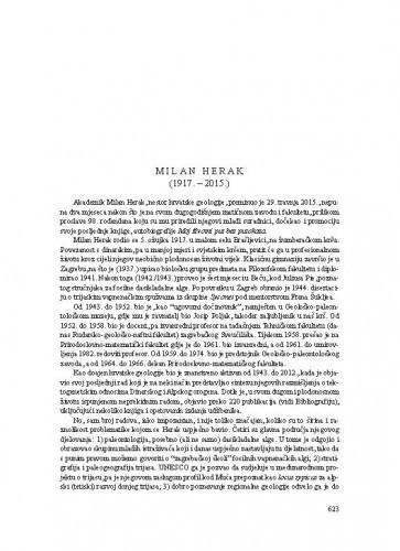 Milan Herak (1917.-2015.) : [nekrolog] / Ivan Gušić, Mladen Juračić