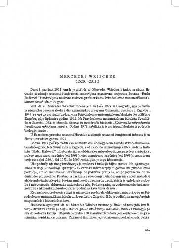 Mercedes Wrischer (1929.-2011.) : [nekrolog] / Nikola Ljubešić