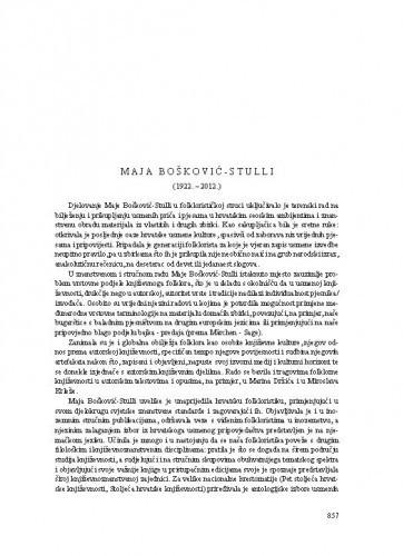 Maja Bošković-Stulli (1922.-2012.) : [nekrolog] / Zoran Kravar
