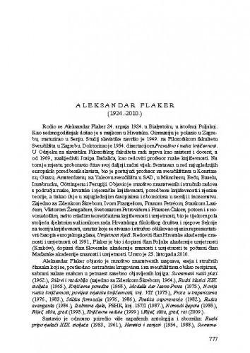 Aleksandar Flaker (1924.-2010.) : [nekrolog] / Ante Stamać