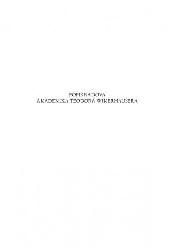 Popis radova akademika Teodora Wikerhausera