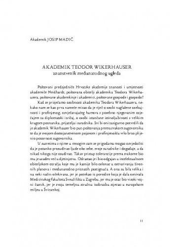 Akademik Teodor Wikerhauser : znanstvenik međunarodnog ugleda / Josip Madić