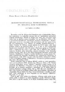 Mikrovegetacija termalnog vrela Sv. Helena kod Samobora / Z. Klas i E. Marčenko