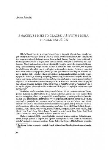 Značenje i mjesto glazbe u životu i djelu Nikole Batušića / Antun Petrušić