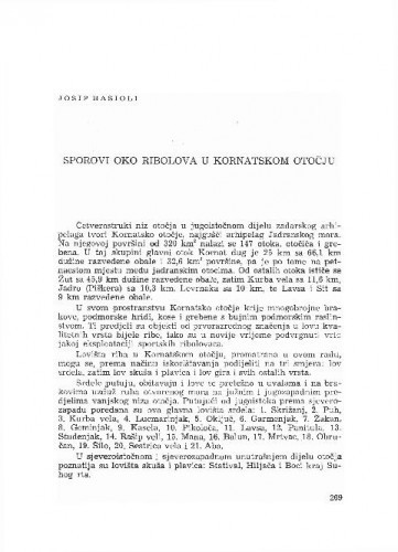 Sporovi oko ribolova u Kornatskom otočju / Josip Basioli