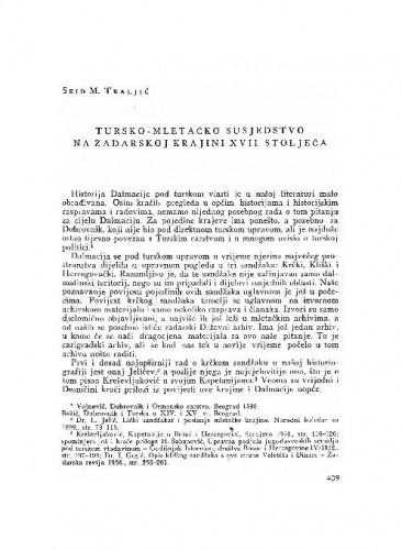 Tursko-mletačko susjedstvo na zadarskoj krajini XVIII. stoljeća / Seid M. Traljić