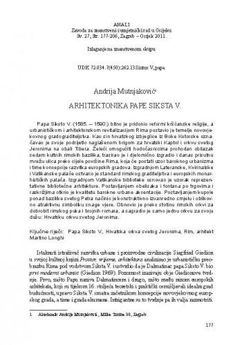 Arhitektonika Pape Siksta V. / Andrija Mutnjaković