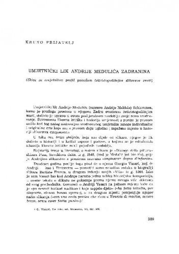Umjetnički lik Andrije Medulića Zadranina : (skica za umjetnikov profil povodom četiristogodišnjice slikareve smrti) / Kruno Prijatelj