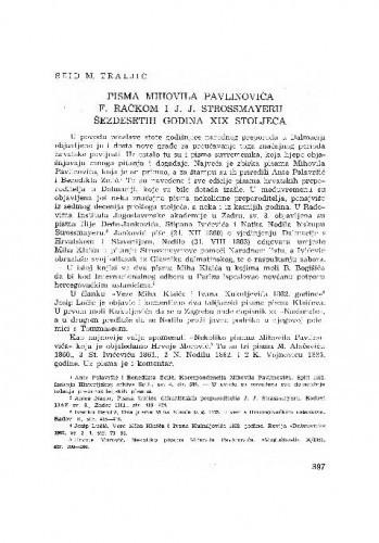 Pisma Mihovila Pavlinovića F. Račkom i J. J. Strossmayeru šezdesetih godina XIX. stoljeća / [priredio] Seid M. Traljić
