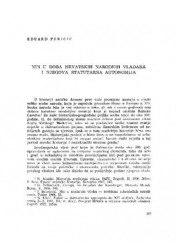 Nin u doba hrvatskih narodnih vladara i njegova statutarna autonomija / Eduard Peričić