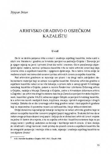 Arhivsko gradivo o osječkom kazalištu / Stjepan Sršan