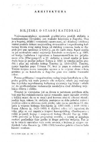 Bilješke o staroj katedrali u Zagrebu / Ljubo Karaman