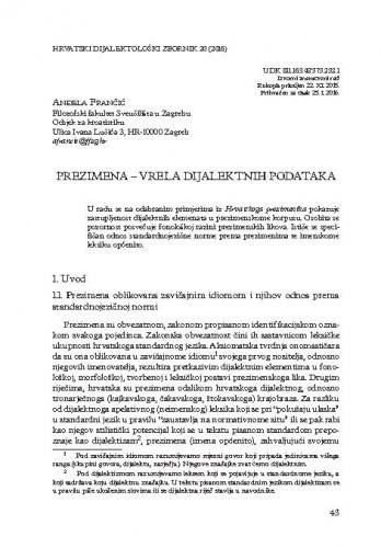 Prezimena - vrela dijalektnih podataka / Anđela Frančić