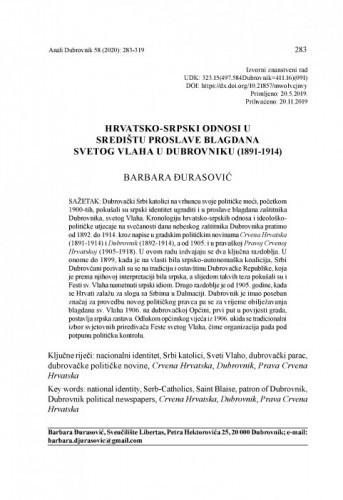 Hrvatsko-srpski odnosi u središtu proslave blagdana svetog Vlaha u Dubrovniku (1891-1914) / Barbara Đurasović